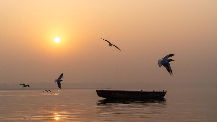 A beautiful sunset photo at sea