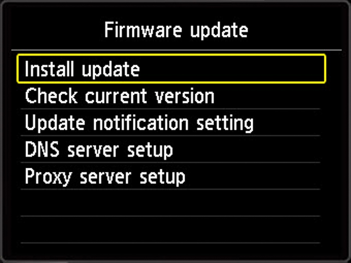 Screenshot of firmware update