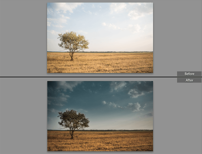 Before and after using the graduated filter in Lightroom