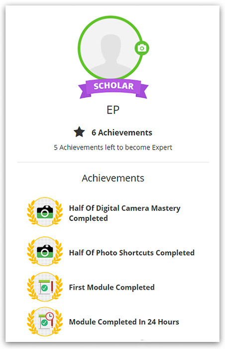 A screenshot of some of the badges and achievements you can earn with Photography Pro
