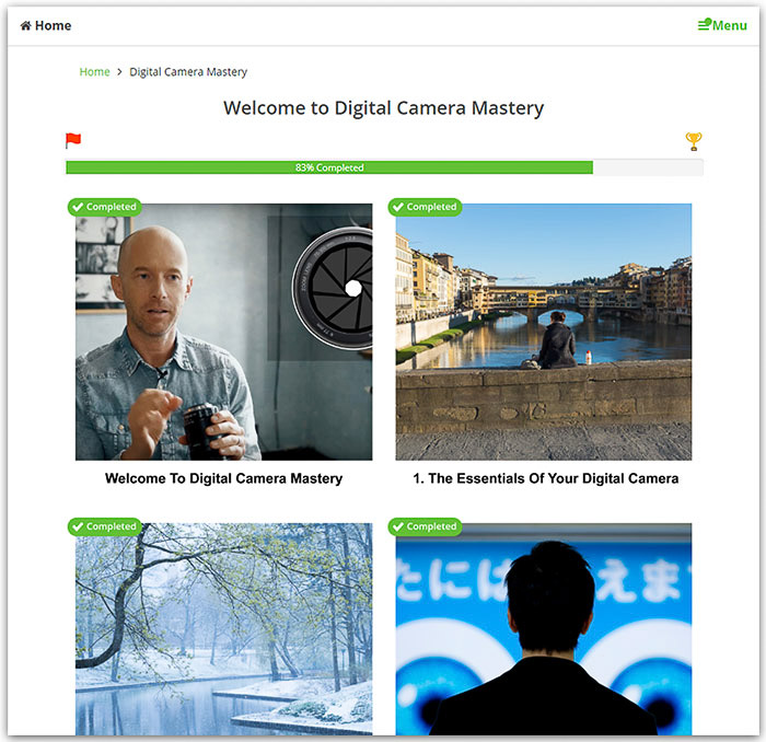A screenshot from the welcome page of Digital Camera Mastery online photography course