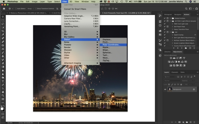 Editing a photo in Photoshop