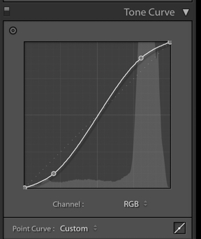 A screenshot of using the tone curve tool in Lightroom