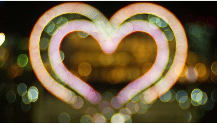 Photo of hearts in light painting