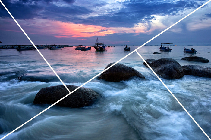 A rocky sea scene with rule of thirds overlay