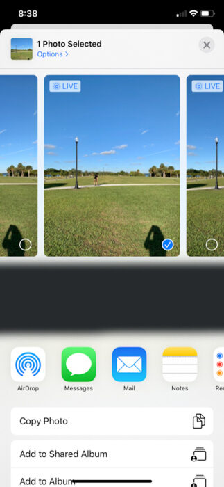 Selecting photos on iPhone