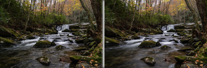 Comparison of two images, the water is smoother in the second image