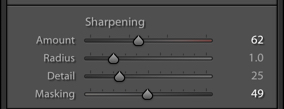 A screenshot of using sharpening in Lightroom