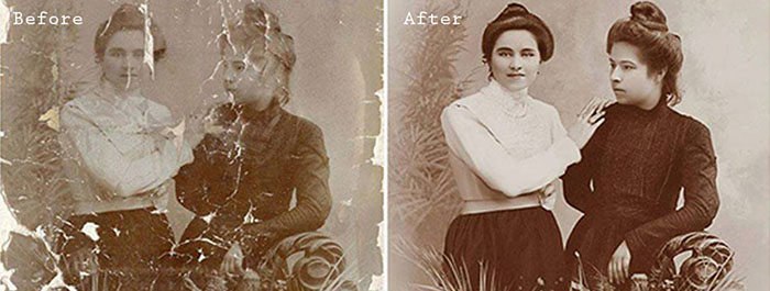 A vintage portrait diptych before and after editing with Photo Retouching
