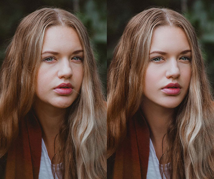 A female portrait diptych showing before and after editing with Retouch Gem Photo Retouching services