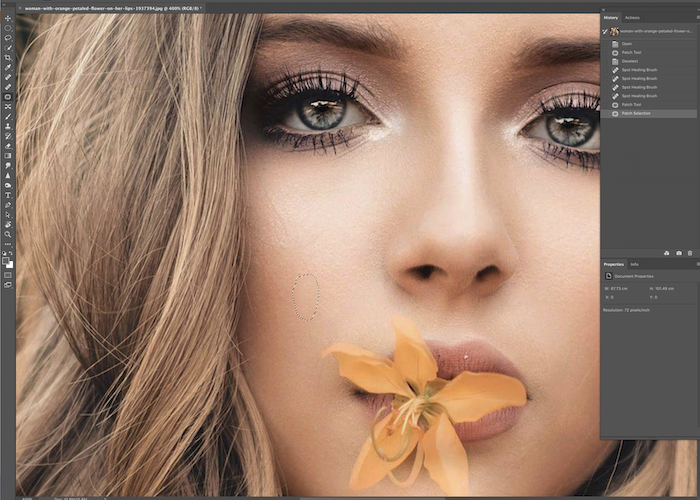 A screenshot of using the patch tool to edit fashion photos in Photoshop