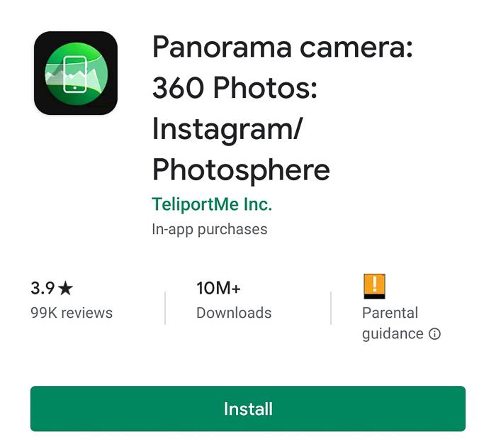 Screenshot of Panorama camera app for 360 photos