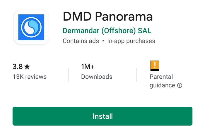 A screenshot of DMD Panorama app