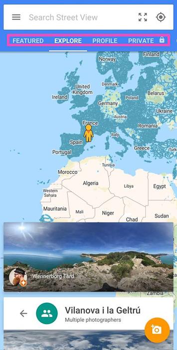 Screenshot of Google Street View spherical 360 photo app
