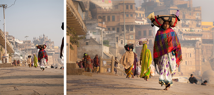 A street scene diptych before and after editing