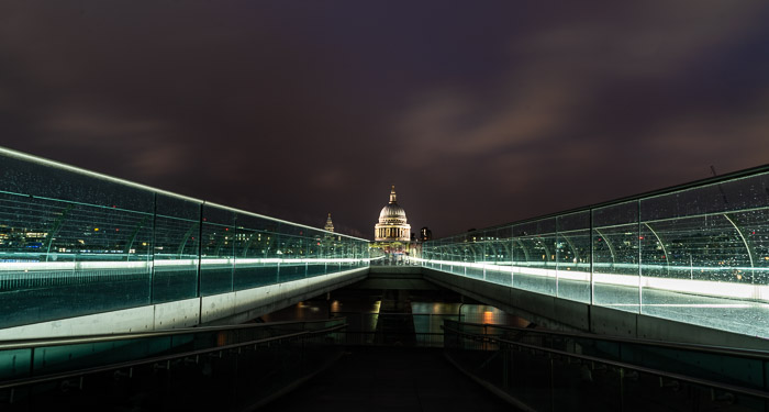 The Millennium Bridge over the Thames frames St. Paul's Cathedral