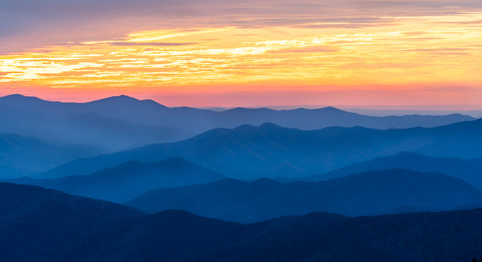 Stunning view of the Smokey Mountains at sunset