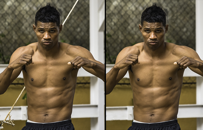 Diptych portrait of a Cuban boxer demonstrating good portrait cropping