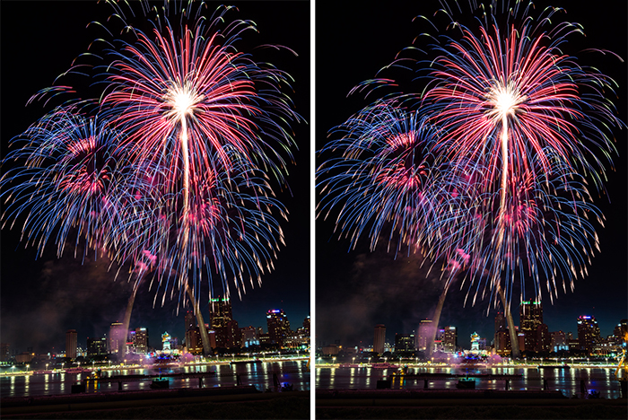 A diptych of a fireworks display before and after editing
