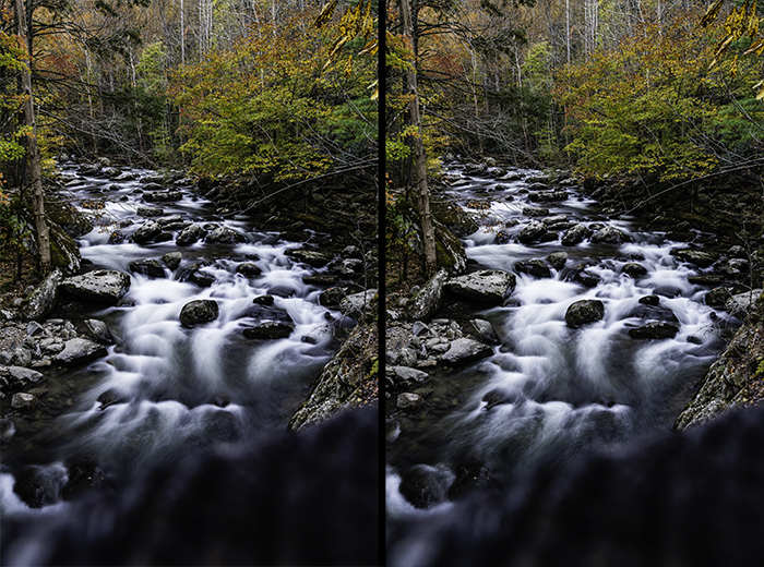 Diptych of a flowing waterfall comparing different exposure times
