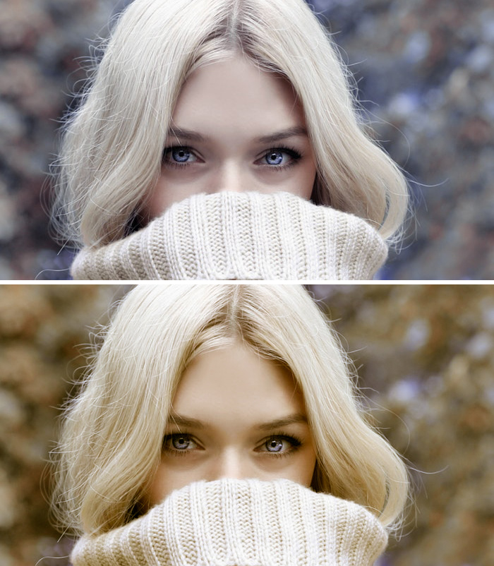 A diptych of a blond fashion model before after using split toning in Lightroom