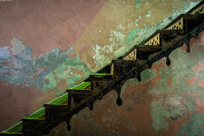 Photo of an old wooden staircase