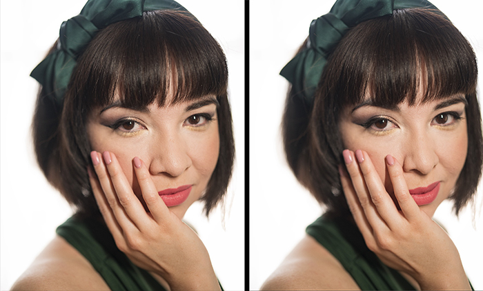 Two portraits of the same model before and after editing in Photoshop