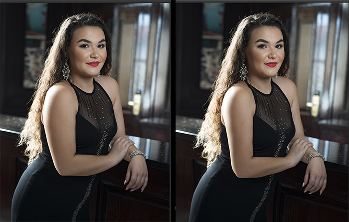 Diptych portrait of a female model before and after editing with the Photoshop Liquify tool