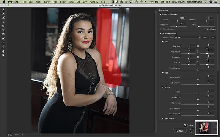 Screenshot of Photoshop Liquify tool