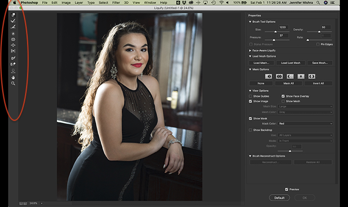 A screenshot of how to find the Photoshop Liquify tool