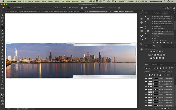 Screenshot of creating a panorama in Photoshop
