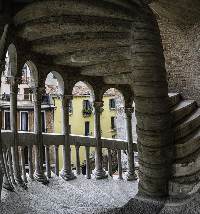 Fisheye panorama of a stone stairwell