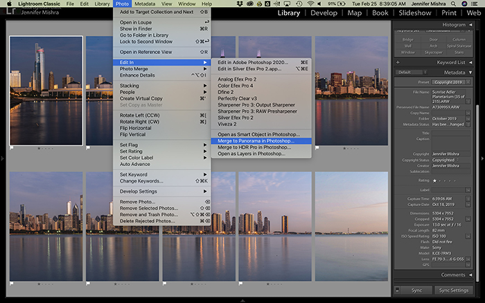 Screenshot showing the procedure for merging panoramas in Photoshop from Lightroom.