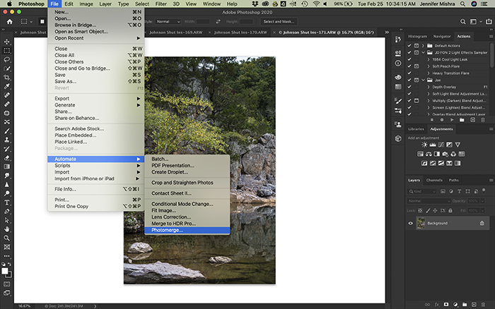 Screenshot showing the procedure for opening the Photomerge window in Photoshop.