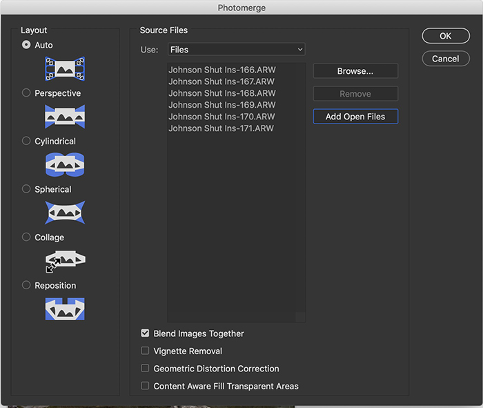 Screenshot of the Photomerge window in Photoshop showing panorama options.