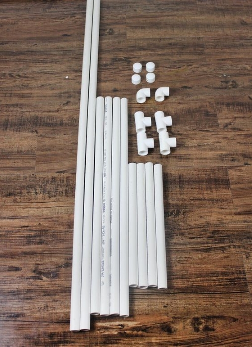 Materials needed for a backdrop stand