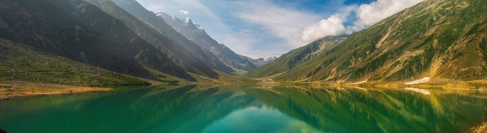 Panoramic image of a lake and mountains