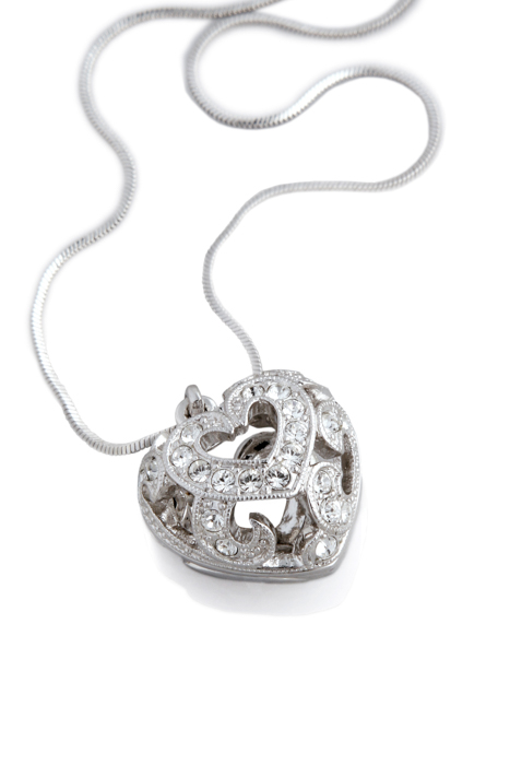 a silver necklace with a huge, heart-shaped medal on white background