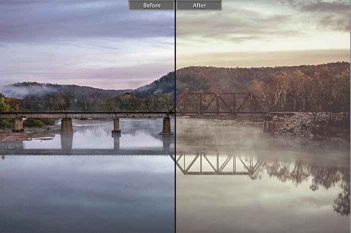 Pretty landscape photo edited with Autumn Vintage Lightroom presets
