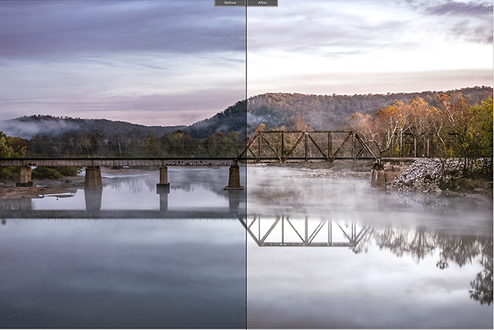 Split image showing before and after editing with Summertime lightroom presets on a landscape photo