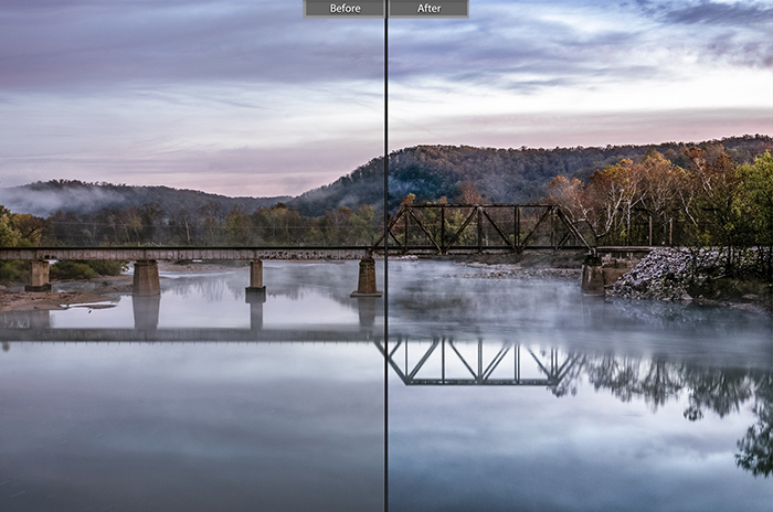 Split image showing before and after ediitng with Wanderlust lightroom presets for landscape photos