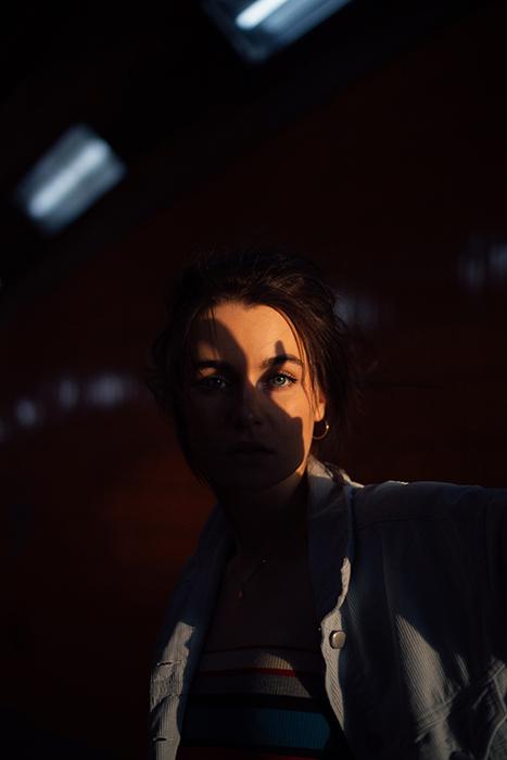 A shadowy portrait of a woman