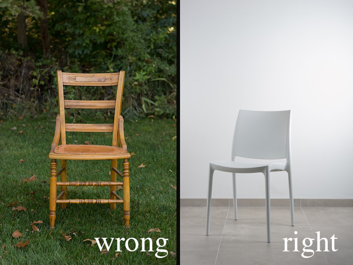 a diptych showing the wrong and right way photograph furniture for product images