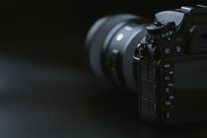Close-up photo of a DSLR camera