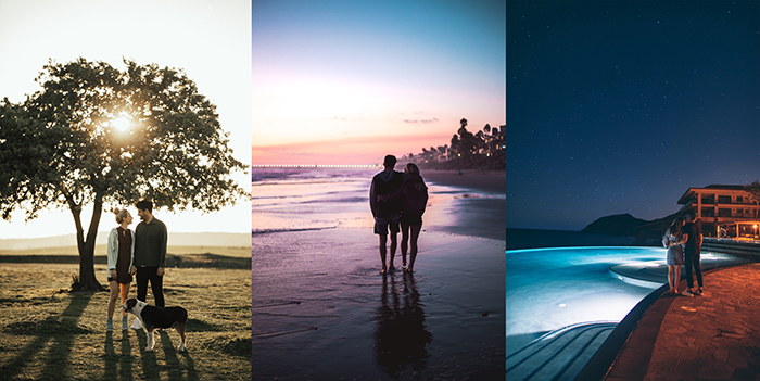 A triptych portrait of different photoshoot for couples ideas