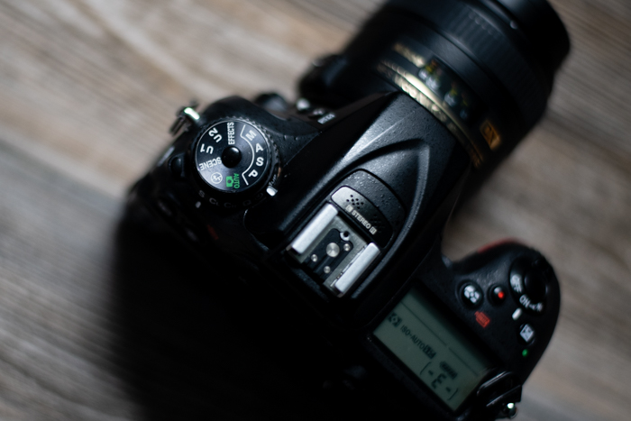 Overhead view of a DSLR camera
