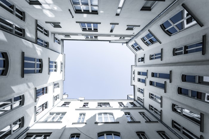 unique view of a building courtyard