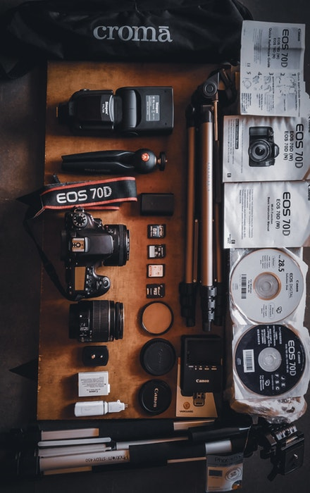 Overhead view of photography equipment on a table