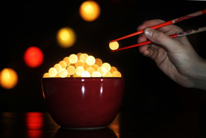 Bokeh balls with chopsticks