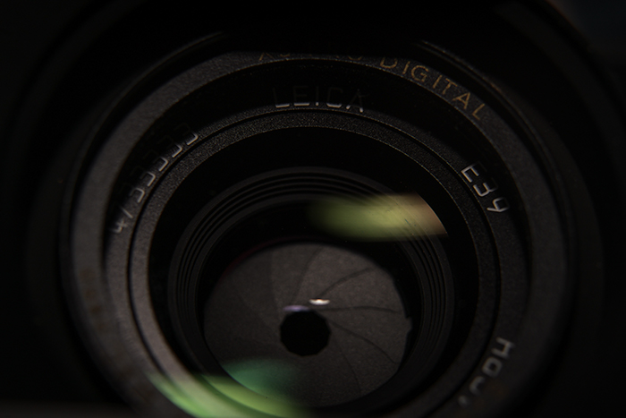 Close up image of the aperture opening in a lens